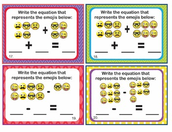 EMOJI 1st Grade Math Task Cards - Relate Counting to Add Subtract - CCSS Aligned