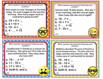 EMOJI 1st Grade Math Task Cards Subtraction Unknown Addend - CCSS Aligned