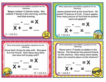 1.OA.B.4 Common Core -EMOJI 1st Grade Math Task Cards Subtraction Unknown Addend