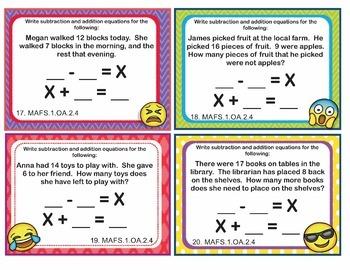 EMOJI 1st Grade Math Task Cards Subtraction Unknown Addend-Florida MAFS.1.OA.2.4