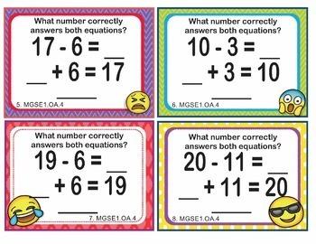 MGSE1.OA.4 Georgia - EMOJI 1st Grade Math Task Cards Subtraction Unknown Addend