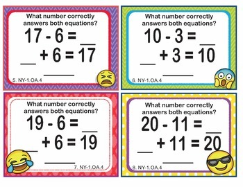 NY-1.OA.4 New York - EMOJI 1st Grade Math Task Cards Subtraction Unknown Addend