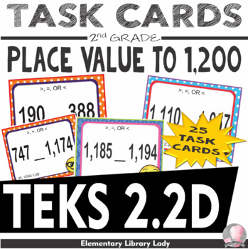TEKS 2.2D Texas - EMOJI 2nd Grade Math Greater/Equal/Less 1,200 Task Flash Cards