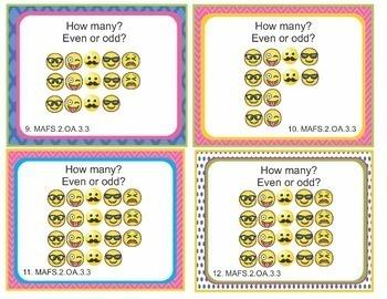 EMOJI 2nd Grade Math Problems 100 Task Cards - Florida MAFS.2.OA 1-4 BUNDLE