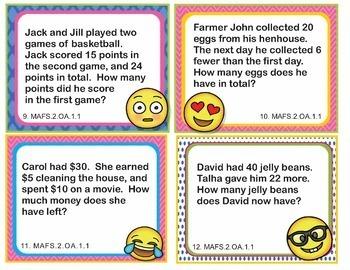 MAFS.2.OA 1-4 Florida BUNDLE - EMOJI 2nd Grade Math Problems 100 Task Cards