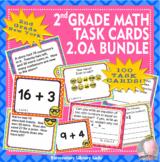 EMOJI 2nd Grade Math Problems 100 Task Cards - New York NY-2.OA #1-4 BUNDLE