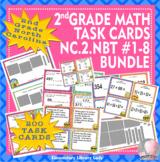 EMOJI 2nd Grade Math Problems 200 Task Cards-North Carolina NC.2.NBT #1-8 BUNDLE