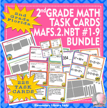 EMOJI 2nd Grade Math Problems 225 Task Cards - Florida MAFS.2.NBT #1-9 BUNDLE
