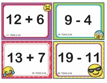EMOJI 2nd Grade Math Problems Add/Subtract within 20 Task Cards- Texas TEKS 2.4A