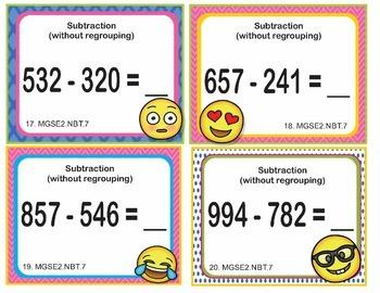 EMOJI 2nd Grade Math Problems Task Cards Add/Sub to 1,000 - Georgia MGSE2.NBT.7