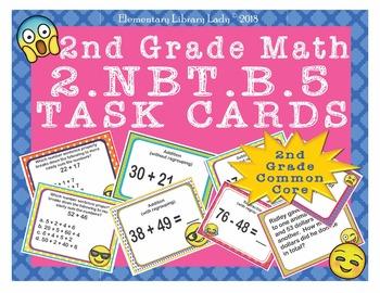 EMOJI 2nd Grade Math Problems Task Cards Add/Subtract 100-Common Core 2.NBT.B.5