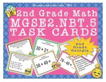 EMOJI 2nd Grade Math Problems Task Cards Add/Subtract 100 - Georgia MGSE2.NBT.5