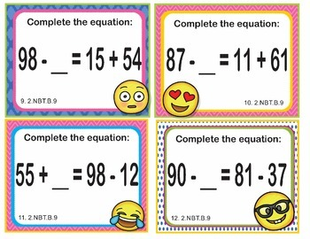 EMOJI 2nd Grade Math Problems Task Cards Add/Subtract - Common Core 2.NBT.B.9