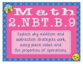 2.NBT.B.9 Common Core - EMOJI 2nd Grade Math Problems Task Cards Add/Subtract