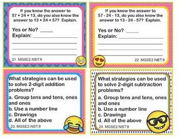 EMOJI 2nd Grade Math Problems Task Cards Add/Subtract - Georgia MGSE2.NBT.9