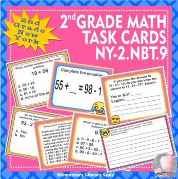 EMOJI 2nd Grade Math Problems Task Cards Add/Subtract - New York NY-2.NBT.9