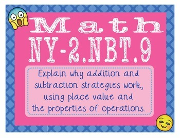 New York Math NY-2.NBT.9 2nd Grade Task Cards Add and Subtract Strategies