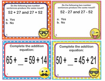 EMOJI 2nd Grade Math Problems Task Cards Add/Subtract Strategies - CCSS Aligned