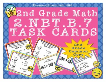 EMOJI 2nd Grade Math Problems Task Cards Add/Subtract to 1,000 - CC 2.NBT.B.7
