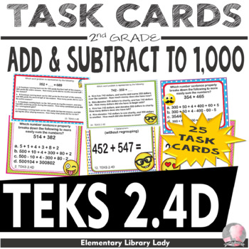 EMOJI 2nd Grade Math Problems Task Cards Add/Subtract to 1,000 - Texas 2.4D
