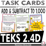 TEKS 2.4D Texas - EMOJI 2nd Grade Math Problems Task Cards Add/Subtract to 1,000