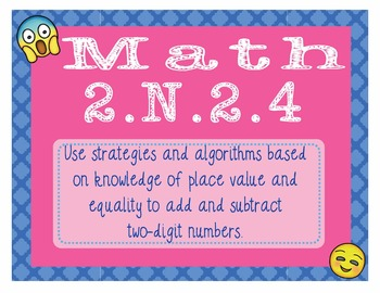 EMOJI 2nd Grade Math Problems Task Cards Add/Subtract w/in100-Oklahoma 2.NBT.2.4