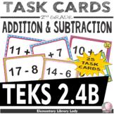 EMOJI 2nd Grade Math Problems Task Cards Add/Subtract within 100-Texas TEKS 2.4B