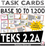 TEKS 2.2A Texas - EMOJI 2nd Grade Math Problems Task Cards Base Ten