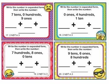 EMOJI 2nd Grade Math Problems Task Cards Expanded Form Number Names - 2.NBT.A.3