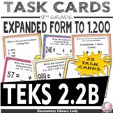 EMOJI 2nd Grade Math Problems Task Cards Expanded Form - Texas TEKS 2.2B