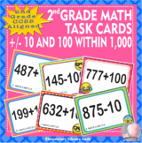 EMOJI 2nd Grade Math Problems Task Cards Flash Cards - Add