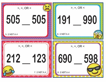 EMOJI 2nd Grade Math Problems Task Cards Flash Cards - Common Core 2.NBT.A.4