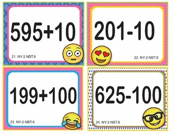 EMOJI 2nd Grade Math Problems Task Cards Flash Cards - Common Core 2.NBT.B.8
