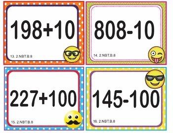 EMOJI 2nd Grade Math Problems Task Cards Flash Cards - Common Core 2.NBT.B.8