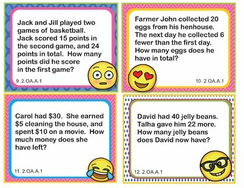 EMOJI 2nd Grade Math Problems Task Cards Flash Cards - Common Core 2.OA.A.1