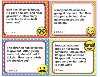 EMOJI 2nd Grade Math Word Problems Task Cards Flash Cards - Common Core 2.OA.A.1
