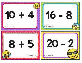 EMOJI 2nd Grade Math Problems Task Cards Flash Cards - Common Core 2.OA.B.2