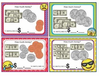 EMOJI 2nd Grade Math Problems Task Cards Flash Cards - Florida MAFS.2.MD.3.8