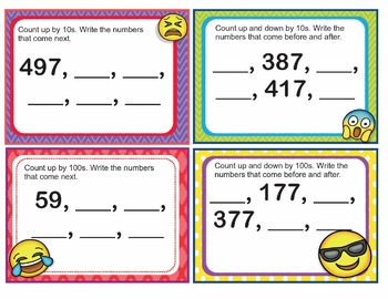 EMOJI 2nd Grade Math Problems Task Cards Flash Cards - Florida MAFS.2.NBT.1.2