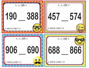 EMOJI 2nd Grade Math Problems Task Cards Flash Cards - Florida MAFS.2.NBT.1.4