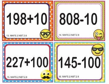 EMOJI 2nd Grade Math Problems Task Cards Flash Cards - Florida MAFS.2.NBT.2.8