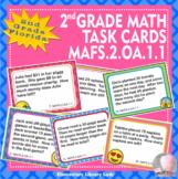 EMOJI 2nd Grade Math Word Problems Task Cards Flash Cards- Florida MAFS.2.OA.1.1