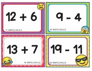 EMOJI 2nd Grade Math Problems Task Cards Flash Cards - Florida MAFS.2.OA.2.2