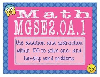 EMOJI 2nd Grade Math Problems Task Cards Flash Cards - Georgia MGSE2.OA.1