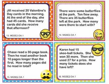 MGSE2.OA.1 Georgia - EMOJI 2nd Grade Math Word Problems Task Cards