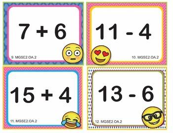 EMOJI 2nd Grade Math Problems Task Cards Flash Cards - Georgia MGSE2.OA.2