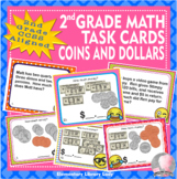 EMOJI 2nd Grade Math Problems Task Cards Flash Cards - Money-Common Core Aligned