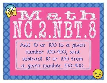 EMOJI 2nd Grade Math Problems Task Cards Flash Cards - North Carolina NC.2.NBT.8