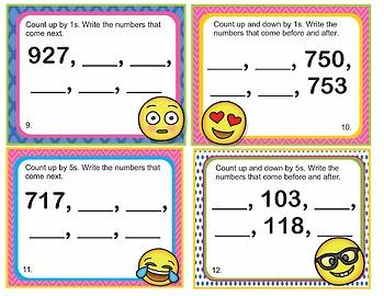 EMOJI 2nd Grade Math Problems Task Cards Flash Cards-Skip Count 5,10,100 - CCSS
