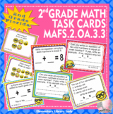 MAFS.2.OA.3.3 Florida - EMOJI 2nd Grade Math Problems Task Cards Odd Even